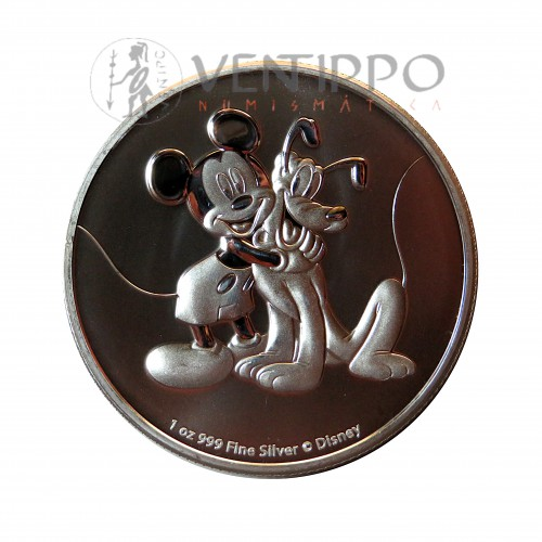 Nive, 2$ plata ( 1 Oz. 999 mls ), Mickey y Pluto, 2020 Bu.