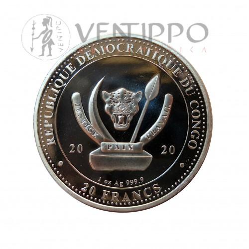 R.D. Congo, 20 Francs Plata ( 1 Oz. ley 999 mls ) 2020 Ballena, Bu.