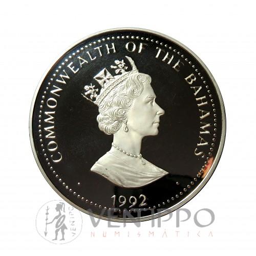 Bahamas, 100 $ Plata ( 1 Kilo Ley 999 mls ), 1992 V Cent. Descubrimiento América Proof.