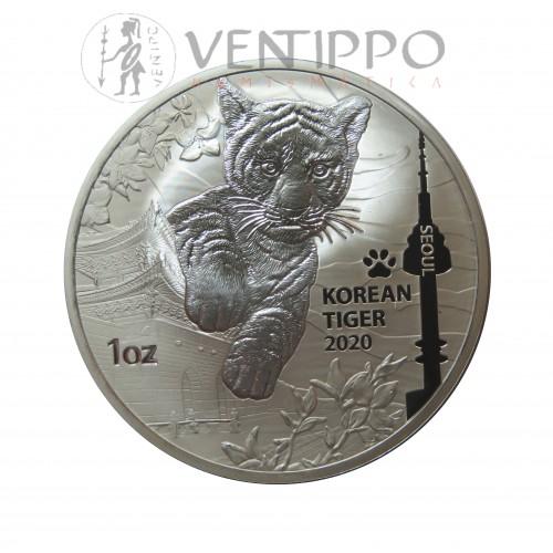 Corea del Sur, 1 Onza Plata 999 mls, Tigre Coreano, 2020 Bu.