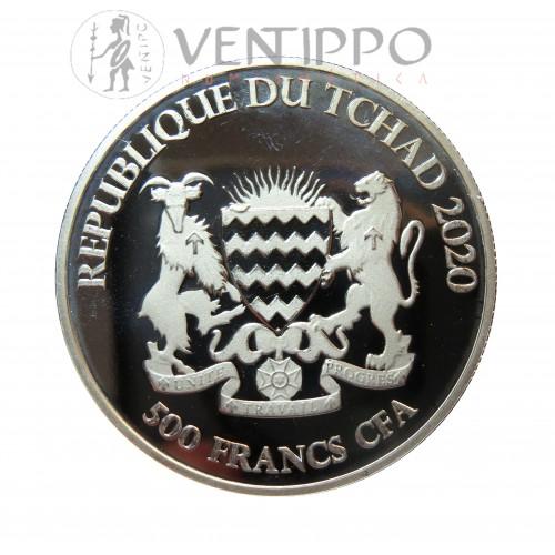 Tchad, 500 Francs Plata ( 1 Oz. ley 999 mls ) 2020 Buey Céltico, Bu.