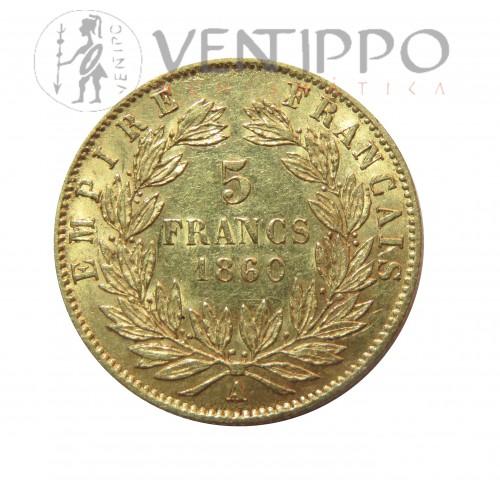 Francia, 5 Francs Oro ( 1,55 grs ley 900 mls ) Napoleón III, 1860 MBC+.
