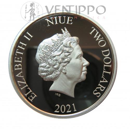 Niue, 2$ Plata ( 1 Oz. 999 mls ) Año del Buey, 2021 Proof.