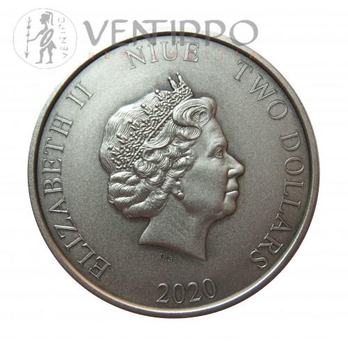 Niue, 2 $ Plata ( 1 OZ 999 mls. ) Pterodáctilo 2020, Proof.
