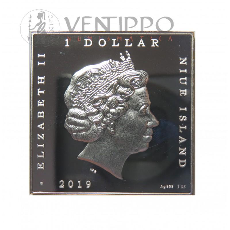 "Niue, Dollar Plata ( 1 OZ. Ley 999 mls. ) 2019, "" El Grito "" Eduard Munch, PROOF."