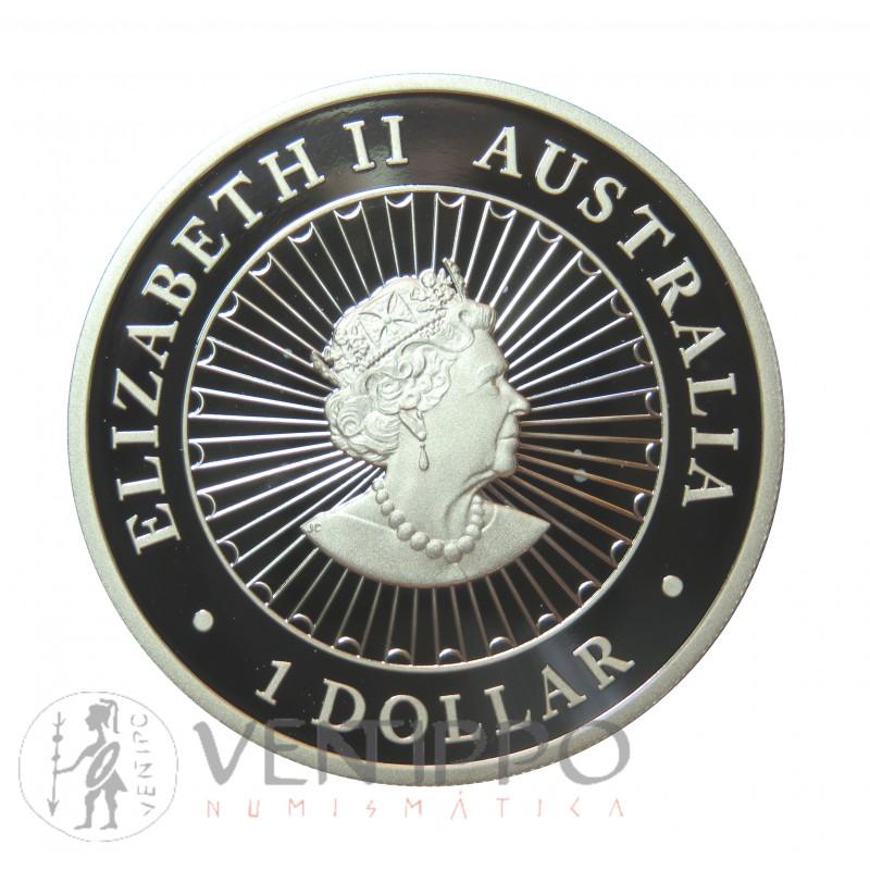 AUSTRALIA, DOLLAR PLATA (1 OZ. 999 mls) GREAT SOUTHERN LAND ÓPALO, 2020 PROOF