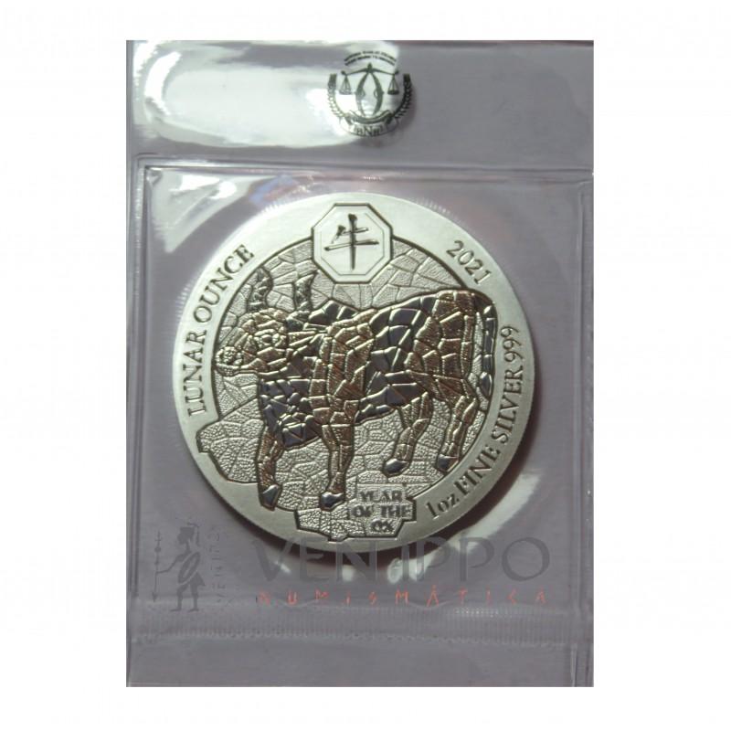 Ruanda, 50 Francs Plata ( 1 OZ. ley 999 mls. ) Año Buey, 2021.