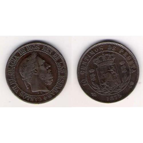CARLOS VII, 10 CÉNTIMOS DE PESETA, 1875, MBC+