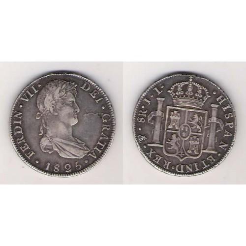 FERNANDO VII, 8 REALES PLATA, 1825 POTOSÍ J.L, MBC+