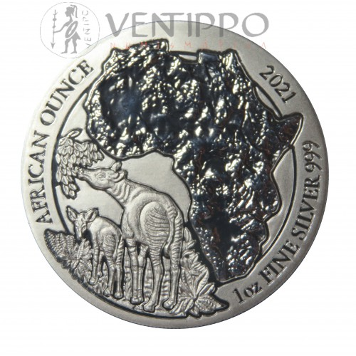 Ruanda, 50 Francs Plata ( 1 OZ. 999 mls. ) Okapi 2021.