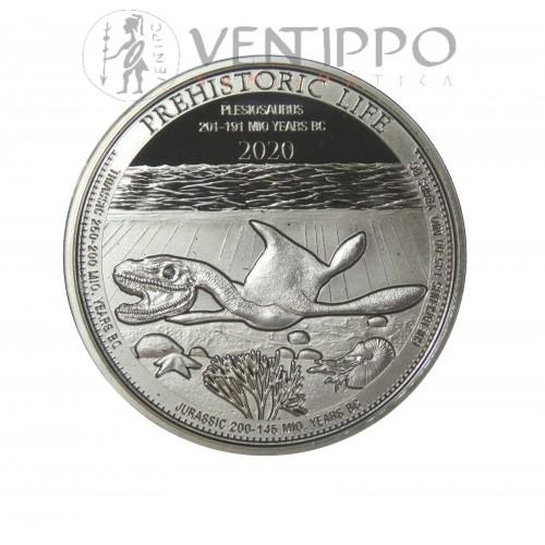Congo, 20 Francs Plata ( 1 OZ 999 mls. ) 2020, Plesiosaurus, BU.