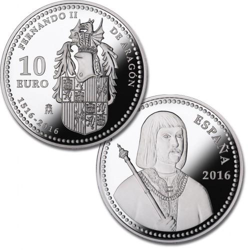 10 € PLATA PROOF 2016, V CENT. MUERTE FERNANDO II DE ARAGÓN