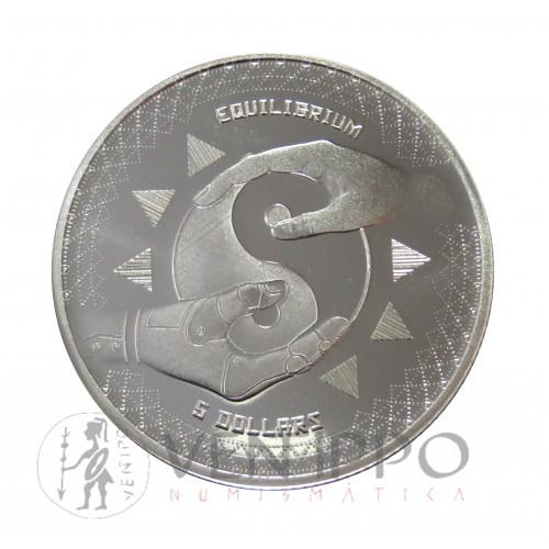 Tokelau, 5 $ Plata ( 1 0Z 999 mls. ) Eqilibrium 2020, BU.