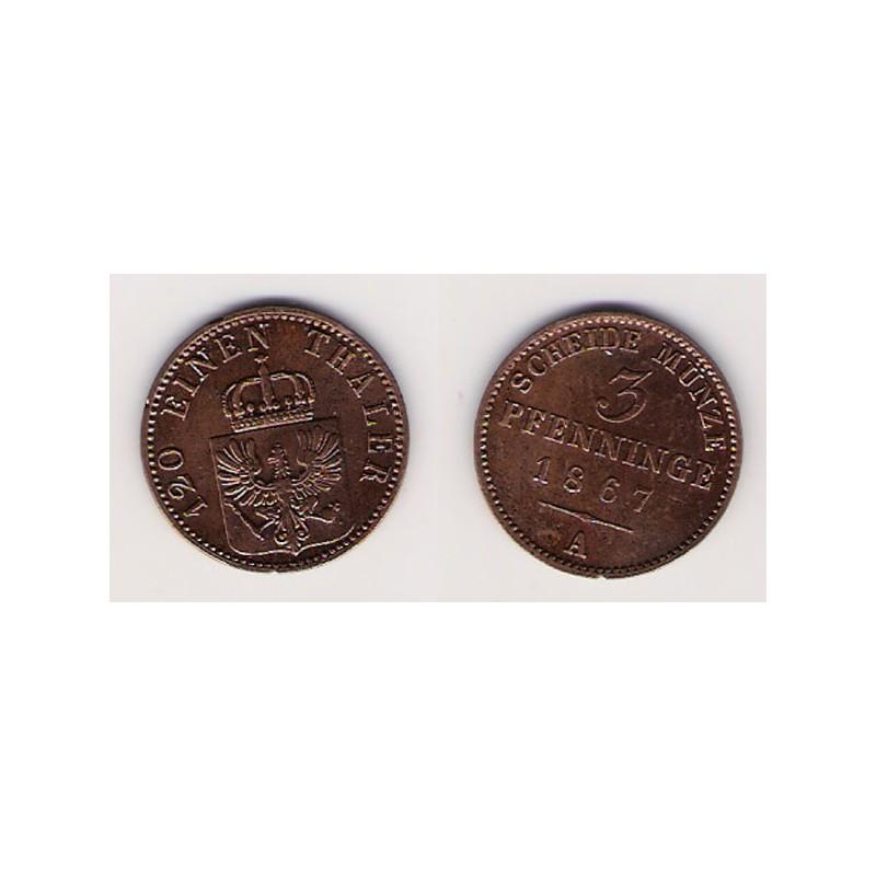 ALEMANIA, PRUSIA, 3 PFENNINGE, GUILLERMO I BERLÍN, 1867, MBC