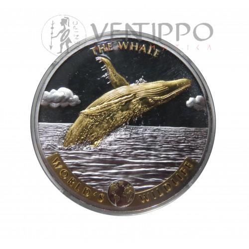 R.D. Congo, 20 Francs plata ( 1 OZ. 999 mls ) 2020 Ballena relieve oro, BU