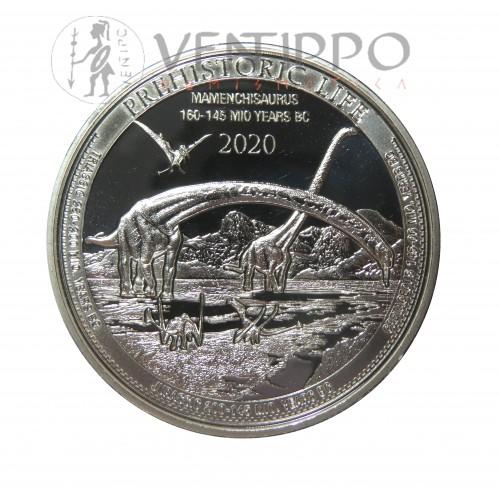 Congo, 20 Francs Plata ( 1 OZ.999 mls ) 2020 Mamenchisaurus, BU.