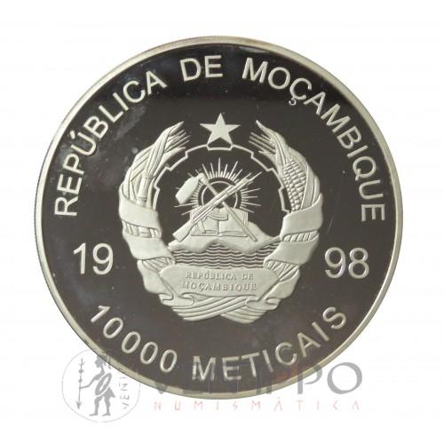 Mozambique, 10000 Meticais Plata ( 822,85 gramos, Ley 999 mls. ) 1998 JJ.00. Sydney, Proof.
