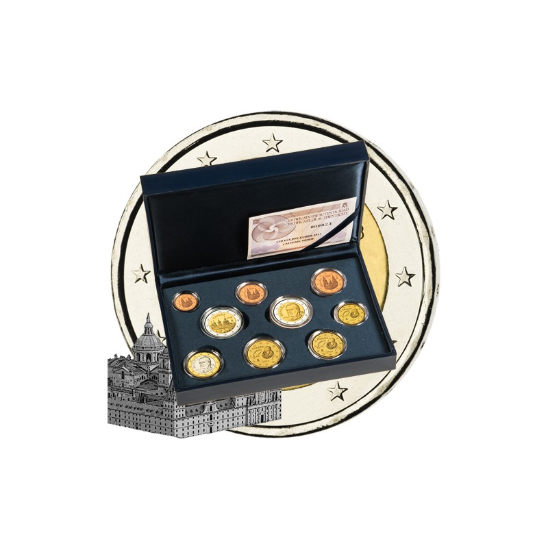 ESPAÑA, ESTUCHE 2013 PROOF, 8 VAL + 2 EUROS ESCORIAL