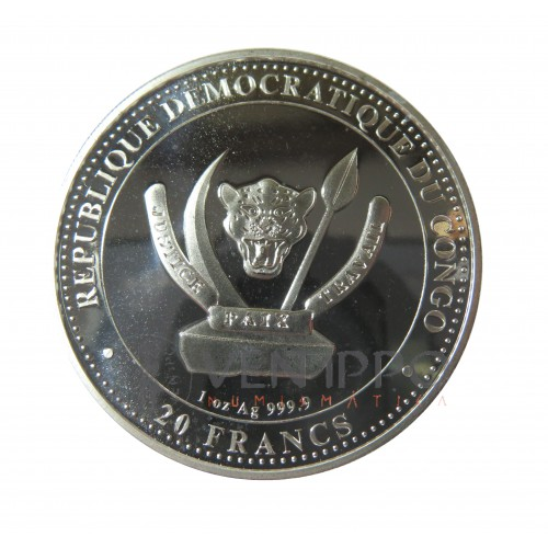 Congo, 20 Francs plata  ( 1 OZ. 999 mls. ) 2020 T-Rex, Bu.