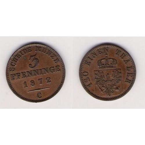 ALEMANIA, PRUSIA, 3 PFENNINGE, GUILLERMO I, CLEVE 1872, EBC