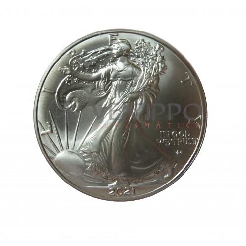 Estados Unidos, Dollar plata ( 1 OZ. 999 mls. ) 2021 Liberty Eagle, nuevo tipo.