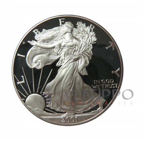 Estados Unidos, Dollar Plata ( 1 OZ. 999 mls. ) Liberty Eagle 2001, Proof