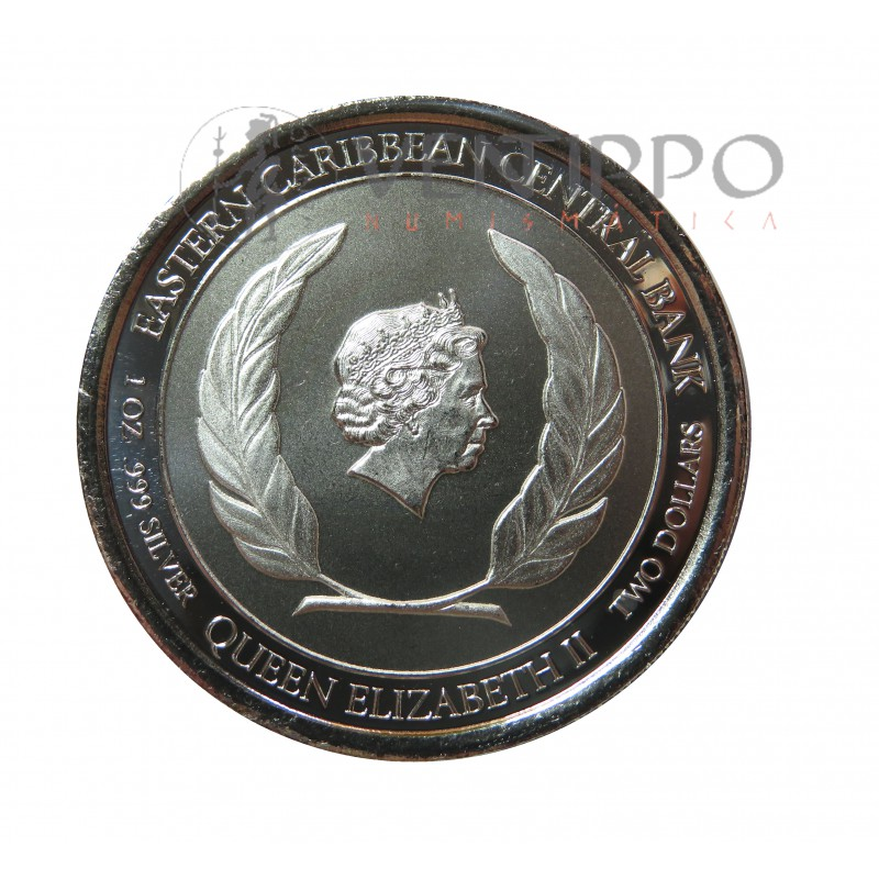 Anguilla, 2 $ Plata ( 1 OZ. ley 999 mls. ) EC8 III, Escudo Armas, 2020.