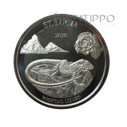 ST. Lucía, 2 $ Plata ( 1 OZ.  Ley 999 mls. ) EC8 III, Whiptail Lizars, 2020.