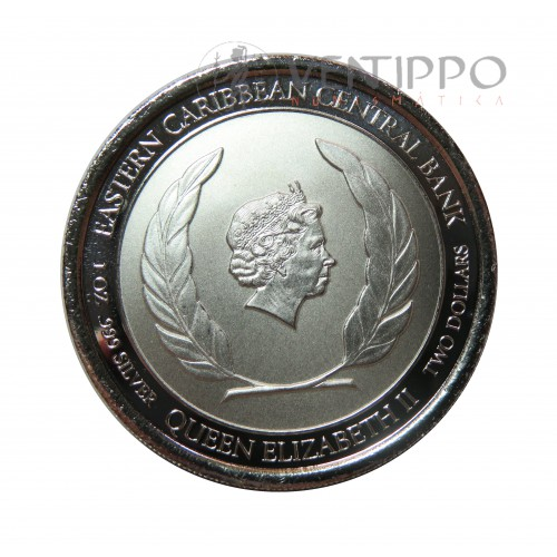 Grenada, 2 $ Plata ( 1 OZ. 999 mls. ) Serie EC8 III, Octopus 2020.