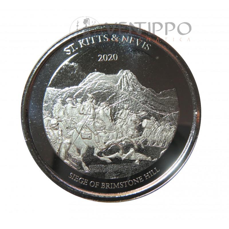 ST. kitts and Nevis, 2 $ Plata ( 1 OZ. 999 mls .) EC8 III, Brimstone Hill, 2020.