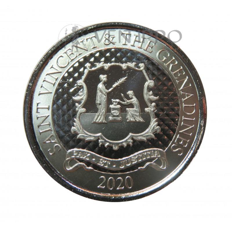 ST. Vincent and the Grenadines, 2 $ Plata ( 1 OZ.  999 mls. ) EC8 III 2020, Escudo.