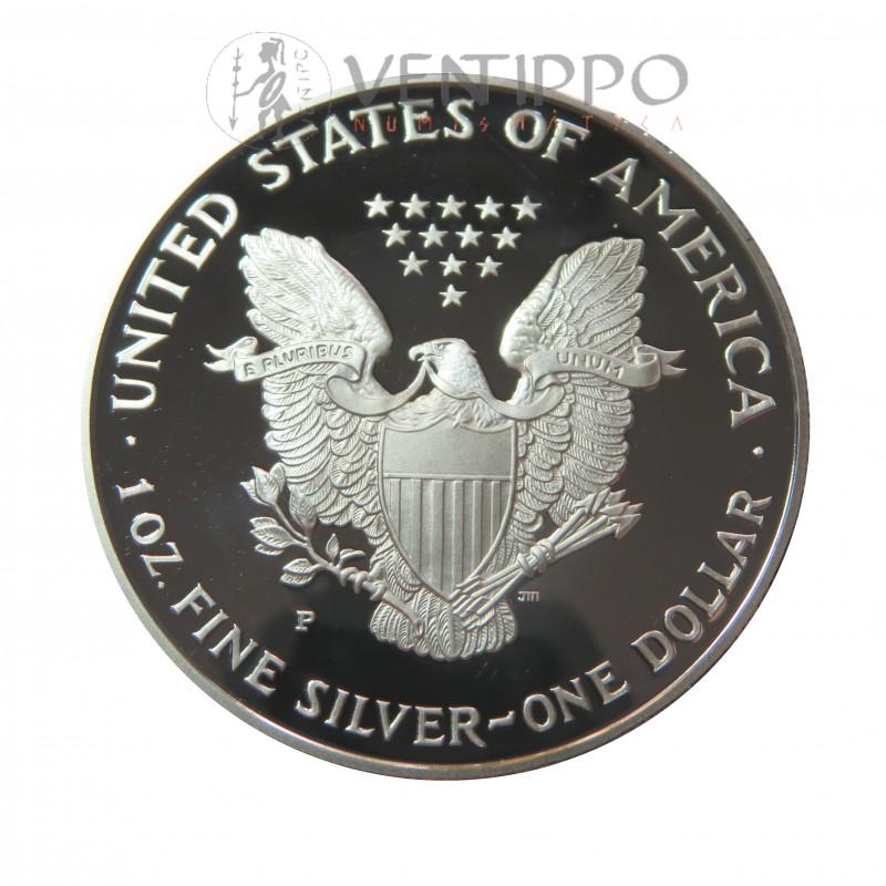 Estados Unidos, Dollar Plata ( 1 OZ 999 mls. ) Liberty Eagle 2000, Proof.