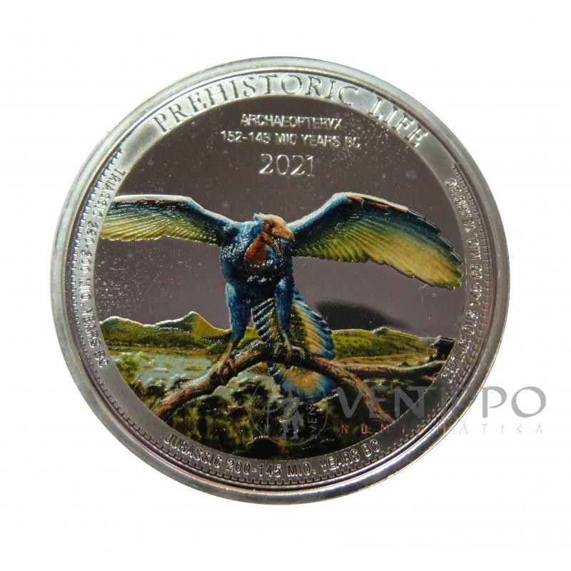 Congo, 20 Francs Plata ( 1 OZ. 999 mls. ) 2021 Archaeopterix Coloreada.