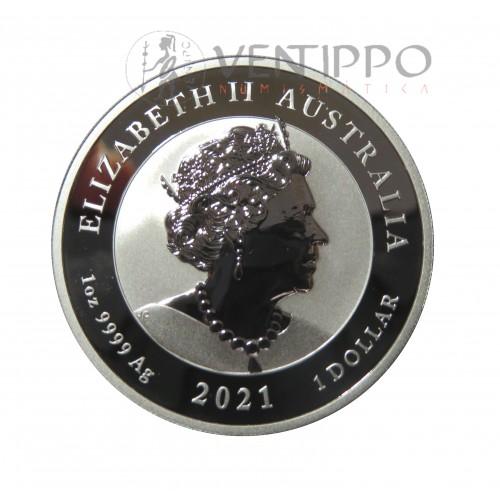 Australia, Dollar Plata ( 1 OZ. Ley 9999 mls. ) Quokka, 2021, BU.