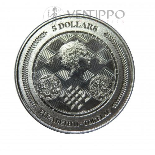 Islas Tokelau, 5 $ Plata ( 1 OZ. Ley 999 mls. ) Chronos 2021, BU.