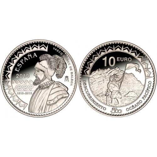 10 € PLATA PROOF, 2013, V CENTENARIO DESCUBRIMIENTO DEL PACÍFICO