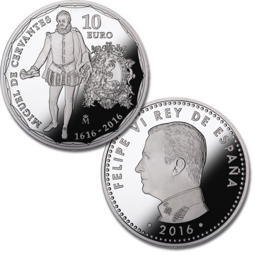 10 € PLATA PROOF, IV. CENT. MUERTE CERVANTES, 2016