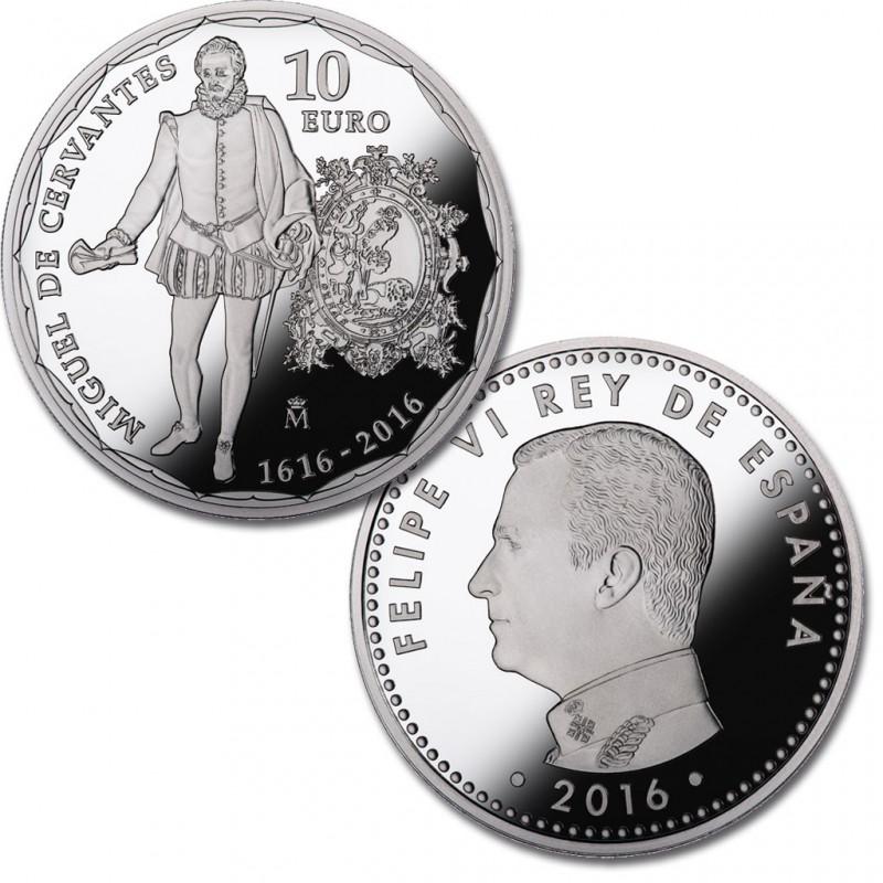 10 € PLATA PROOF, IV. CENT. MUERTE CERVANTES, 2016