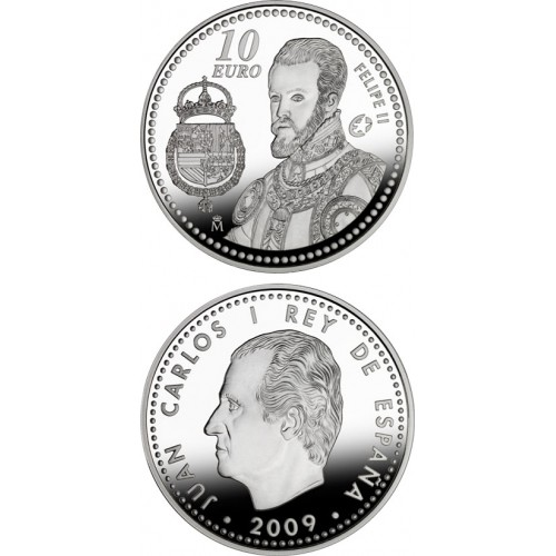 10 € PLATA, PROGRAMA EUROPEA 2009, FELIPE II, PROOF