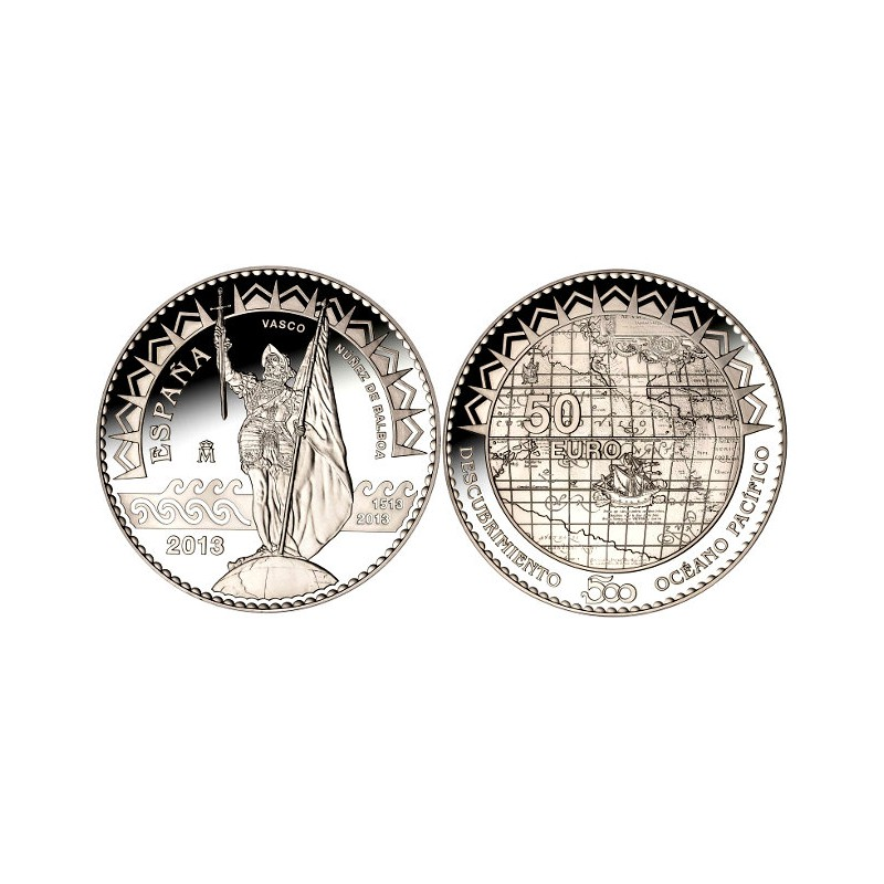 50 € PLATA PROOF, 2013, V CENT. DESCUBRIMIENTO DEL PACÍFICO