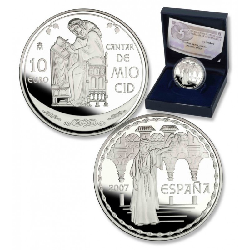 ESPAÑA ,10 € PLATA PROOF 2007, CANTAR MIO CID, DOÑA JIMENA