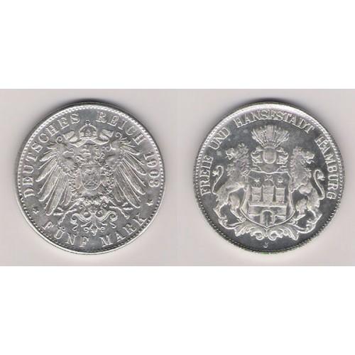 Alemania, Hamburgo, 5 Marks plata, 1903, EBC, rara