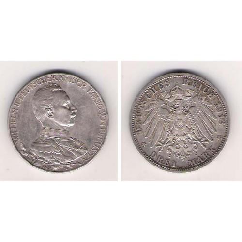 Alemania, Prusia, 3 Marks Plata, 1913, Wilhem II, A. EBC-