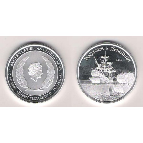 Antigua y Barbuda, 2 $ Plata ( 1 OZ. 999 mls. ) 2018, Carrera del ron de los buques piratas, PROOFLIKE