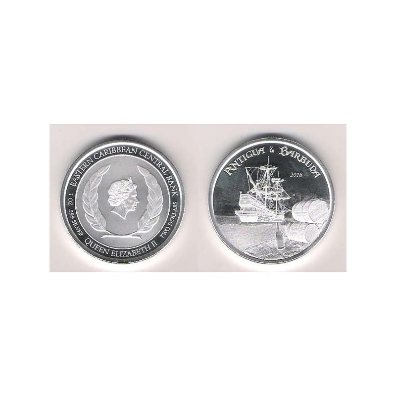 Antigua y Barbuda, 2 $ Plata ( 1 OZ. 999 mls. ) 2018, Carrera del ron de los buques piratas, PROOFLIKE