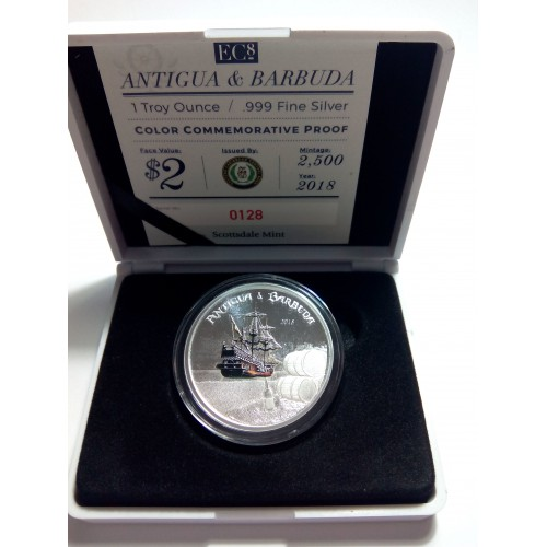 ANTIGUA Y BARBUDA, 2 $ PLATA (1 OZ. 999 mls) 2018 CARRERA DEL RON PROOF