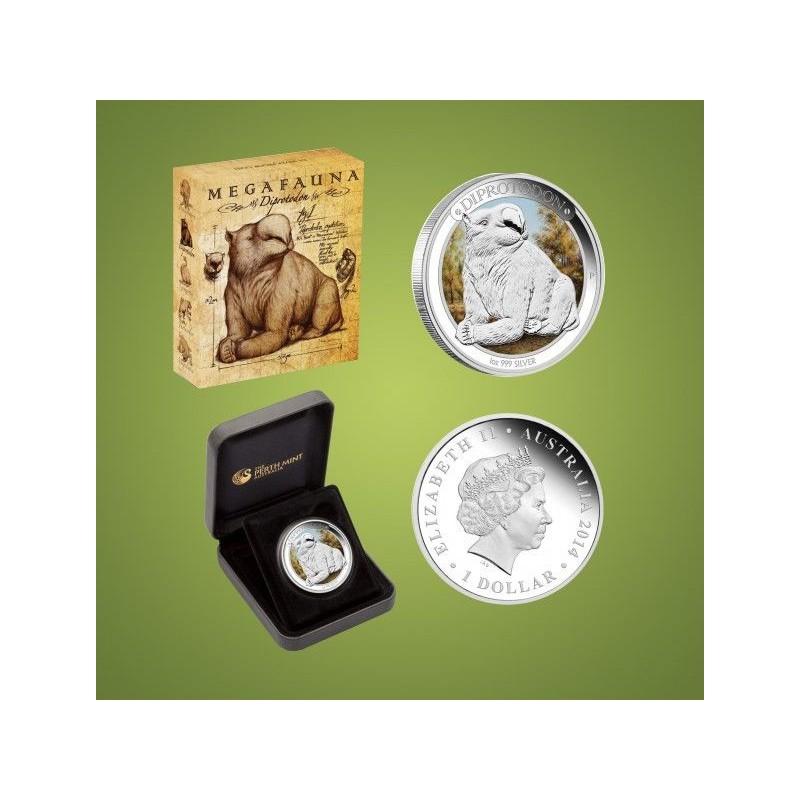 AUSTRALIA, 1 $ ( 1 OZ. PLATA 999 mls. ) MEGAFAUNA 2, PROOF