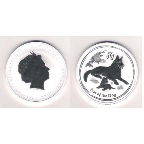 AUSTRALIA, 1 $ PLATA ( 1 OZ. 999 mls. ) AÑO DEL PERRO 2018, BU