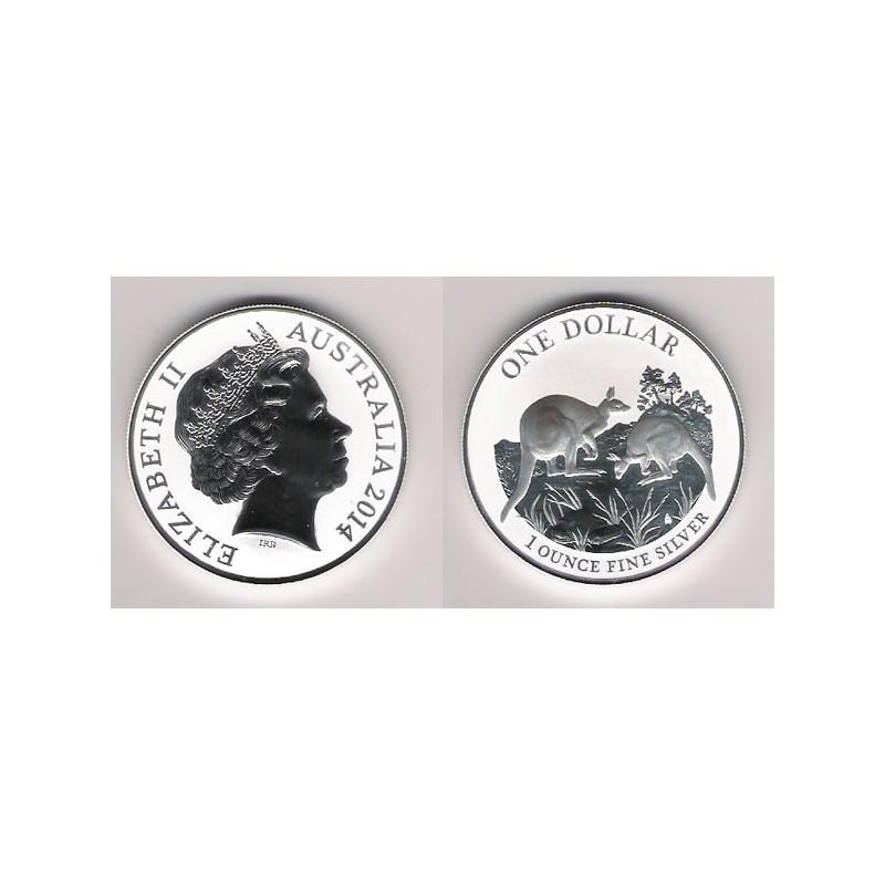 AUSTRALIA, 1 $ PLATA ( 1 OZ. 999 mls. ) CANGURO 2014, BU