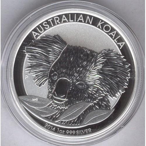 AUSTRALIA, 1 $ PLATA ( 1 OZ. 999 mls. ) KOALA 2014, BU